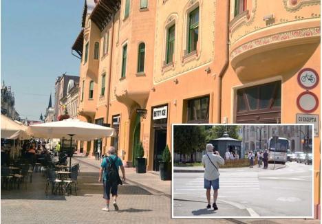 NEPRIETENOS. Oradea îşi întâmpină vizitatorii cu clădiri frumos renovate, precum Palatul Apollo (stânga) dar care nu sunt marcate ca monumente, şi fără nicio parcare pentru autobuze în centru (dreapta)