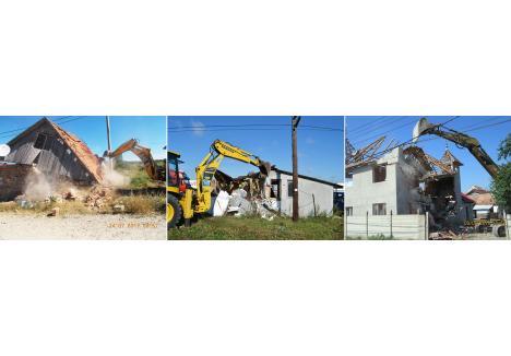 CU BULDOZERUL. În ultimii 3 ani municipalitatea a demolat o casă în strada Aleşdului 63 (foto stânga) din cartierul Tineretului, o baracă din Episcopia Bihor (foto mijloc) şi o vilă din Calea Clujului (foto dreapta), construite ilegal. Fiecare proces a durat mai bine de 5 ani