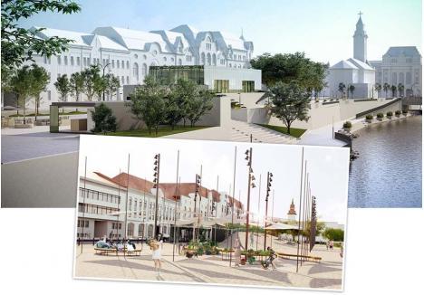 """ORADEA DIXIT. Piaţeta din strada Independenţei va fi reamenajată având deasupra parcării subterane o galerie de artă, conform proiectului Muun Concept (foto mare) votat de orădeni, în locul unei păduri de ţepi propuse de arhitectul Dragoş Dragnea (detaliu), premiate de un juriu internaţional. """"Orădenii şi-au spus punctul de vedere şi mă voi conforma. Eu răspund în faţa lor, nu a juriului"""", spune primarul Florin Birta"""