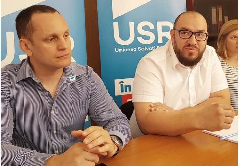 """TOT ÎNAINTE! Colegii îl văd pe Marius Șovarschi (stânga) ca pe o piatră de moară la gâtul USR Bihor, dar deputatul Silviu Dehelean (dreapta) e convins că-i alegerea ideală pentru postul de subprefect: """"Ne-a adus servicii, nu prejudicii"""""""