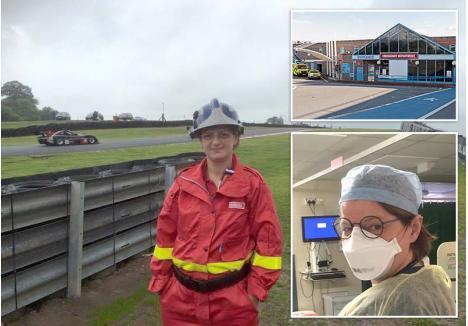 """SECŢIE INFECTATĂ. În secţia de urgenţă a spitalului Doncaster Royal Infirmary, unde lucrează Anamaria Dwyer, s-au infectat 8 medici din cei 48, dar asta nu o sperie pe orădeancă. """"Mi-am dorit să fiu medic de la vârsta de 3 ani. Un virus nu mă poate împiedica să-mi fac meseria"""", spune orădeanca."""