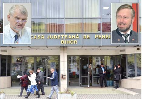 """CA OLTENII. Imediat după ce Szarka Árpád (stânga) s-a refugiat în concediu medical pentru a împiedica schimbarea sa de la conducerea Casei Judeţene de Pensii Bihor, preşedintele executiv al UDMR Bihor, Szabó Ődőn (dreapta), a susţinut că trebuia musai lăsat şef, pe motive de """"etică minimală"""", adică doar fiindcă mai are patru luni până la pensionare. Pare-se că UDMR-iştii au dobândit mentalitatea din bancurile cu oltenii ahtiaţi după funcţii..."""