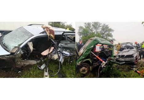 GOANA SPRE NICĂIERI. Pe 8 mai, la Borod, şoferul unui Passat (stânga) a încercat să depăşească o coloană, murind pe loc după ce s-a izbit de un TIR. La o zi şi 36 kilometri distanţă, la Tileagd (dreapta), conducând un BMW, un tânăr a lovit o dubiţă pe sensul opus. A decedat imediat, rănindu-i grav pe cei patru ocupanţi ai acesteia