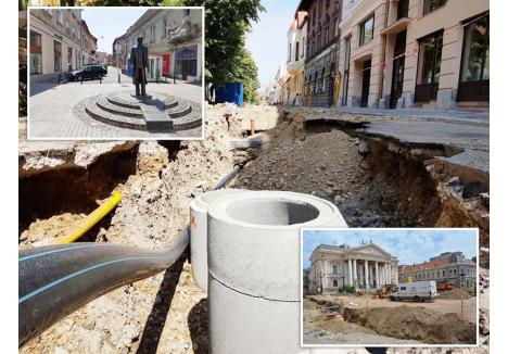 """TRIUNGHIUL DE """"FOC"""". Nu există şantier din centrul oraşului fără întârzieri. Dacă lucrările de transformare în arteră pietonală a străzii Aurel Lazăr (stânga) programate pentru luna mai nici nu au început încă, înlocuirea reţelelor de apă şi canalizare din strada Mihai Eminescu (mijloc) trenează de mai bine de un an, iar reabilitarea Pieţei Ferdinand (dreapta) urmează să fie etapizată pentru a face loc lucrărilor de hidroizolare a fundaţiei clădirii Teatrului Regina Maria"""