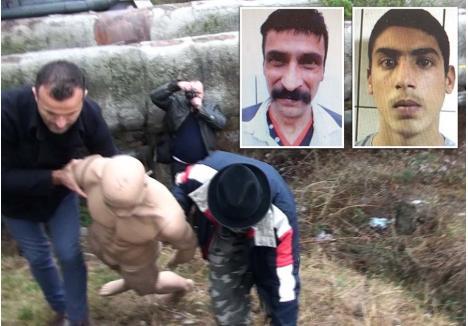 """RECONSTITUIRE. Cei doi criminali, Cristian Hendre, 44 ani, (stânga) şi Traian Căldărar (dreapta), acum în vârstă de 18 ani, au fost conduşi de anchetatori la reconstituirea crimei, ocazie cu care făptaşii au """"ucis"""" un manechin pus în rolul victimei. Autorii crimei au fost arestaţi pe 21 noiembrie 2018, când Căldărar era deja arestat pentru o tâlhărie comisă în acelaşi an, pe 5 septembrie"""