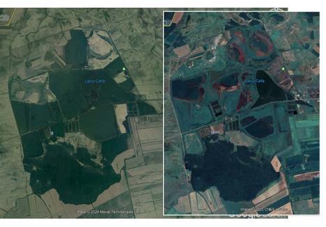 SE VEDE DIN SATELIT! Dispariţia lacurilor de la Cefa se vede şi din spaţiu. Imagini surprinse de sateliţii Google Earth arată că în 2004 heleşteiele erau pline cu apă (stânga), iar acum sunt doar nişte mlaştini (dreapta)
