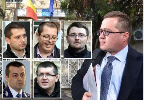 """CARE-I """"IUDA""""? Avocatul Răzvan Doseanu (fundal) refuză să divulge sursa înregistrării realizate chiar în sediul DNA Oradea. Cum la discuţie au participat doar procurori, """"trădătorul"""" ar putea fi unul dintre aceştia (în foto, de la stânga la dreapta): Ciprian Man, Adrian Muntean, Cristian Ardelean, Cosmin Pantea sau Lucian Rus"""