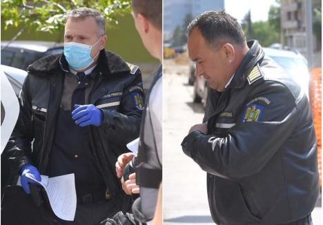 """SĂLTAŢI """"ÎN DIRECT"""". După o carieră de peste două decenii pe frontieră, agenții Munteanu Matei (dreapta) şi Viorel Chiş (stânga) au fost reținuți chiar la Vama Borș și riscă acum să iasă forţat din sistem, după ce au periclitat sănătatea publică, transformând în """"afacere"""" până și întoarcerea românilor în țară, de frica pandemiei"""