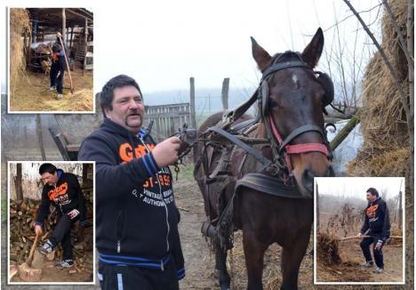 """TEHNICA JÓSKA. Rămas ciung la 20 de ani, Nyéki Iosif înhamă calul, cară fânul, scoate gunoiul din grajd şi crapă lemne folosindu-se de o singură mână. """"Mi-e şi frică să tai lemne, că ţin butucul cu un picior, să nu cadă. Cum nu mai am ţintă bună, mi-am crăpat un deget în două"""", povesteşte bărbatul"""