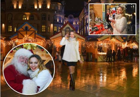 ÎNTÂLNIRE CU MOȘ CRĂCIUN. Înainte să plece spre satul natal din Moldova, Mihaela a intrat în spiritul sărbătorilor la Târgul de iarnă din Oradea, oraș pe care îl îndrăgește şi unde chiar s-a întâlnit cu Moș Crăciun