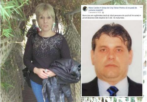 """TUPEU DE CRIMINALĂ. La insistenţele rudelor şi prietenilor soţului ei, pe 7 ianuarie, Gajdos Klara (medalion) a postat pe Facebook poza bărbatului pe care îl dăduse dispărut, cu rugămintea ca persoanele care l-au văzut să o contacteze """"în privat"""". Un alibi cinic şi, până la urmă, zadarnic"""
