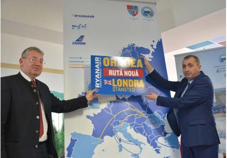 LA CAPĂT. În urmă cu doi ani, la inaugurarea primelor curse externe, şeful CJ Bihor, Pásztor Sándor, şi directorul Aeroportului, Gheorghe Pasc, nu ştiau că victoria are mai mulţi părinţi şi doar eşecul e orfan. Cel din urmă o află acum, când decontează singur reversul a ceea ce atunci sărbătoreau împreună