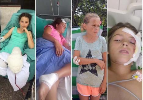 VACANŢĂ SFÂRŞITĂ. Cele patru surori Toma - Cosmina, Larisa, Denisa şi Ligia - se întorceau dintr-o tabără creştină în ziua în care un inconştient a intrat în ele cu maşina. În loc să ajungă acasă, fetele au fost duse la spital, trei dintre ele fiind în continuare internate, în stare gravă, numai Denisa fiind acasă, cu bunica. Aşa arată drama familiei Toma în imagini, surprinse şi puse la dispoziţia BIHOREANULUI de tatăl fetelor
