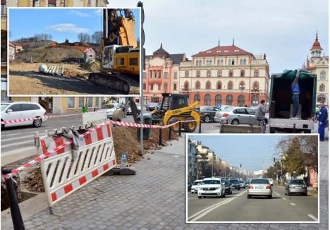 PRIMĂVARA ŞANTIERELOR. Începând din martie, constructorii au reluat lucrările la prelungirea drumului rapid din strada Suişului, întrerupte peste iarnă (stânga), şi au început strămutarea reţelelor pentru reabilitarea Pieţei Ferdinand (mijloc) şi a bulevardului Dimitrie Cantemir (dreapta)