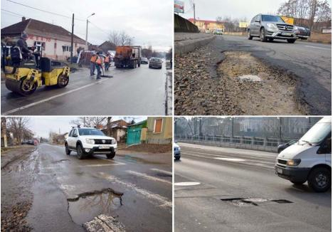"""TERMEN, O SĂPTĂMÂNĂ! La sfârşitul săptămânii trecute drumarii au început primele lucrări de plombare. """"Dacă vremea ne va permite, într-o săptămână vom acoperi toate gropile"""", spune directorul Drumuri Bihor, Dorel Crăciun. Lucrările au pornit deja pe străzi ca Matei Corvin, Calea Bihorului şi Podul Dacia"""