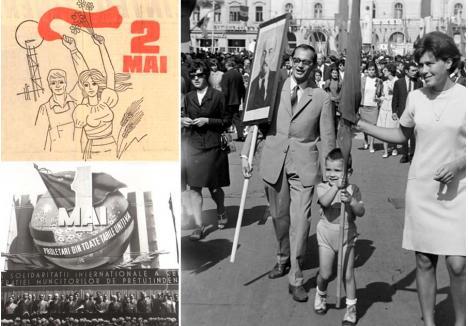 """CU MIC, CU MARE, LA DEFILARE. Paradele de 1 Mai erau ţinute anual în centrul Oradiei, cu participarea tuturor categoriilor de persoane, de la copii la muncitori, pensionari şi militari, care defilau prin faţa tribunei oficiale, amplasate în faţa Palatului Vulturul Negru. Adesea, profitând de vremea bună, părinţii mergeau împreună cu copiii, pentru ca după manifestare să se retragă pe o terasă, la un grătar sau la ştrand. Tinerii se pregăteau de activităţi şi pentru data de 2 Mai, Ziua Tineretului, când urmau momente culturale, sportive şi tradiţionalul """"carnaval al tineretului"""" (foto: fortepan.hu/Szűcs Loránd)"""