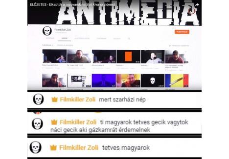 """PĂDUCHI! Abordat de internauţi, care l-au întrebat de ce îi urăşte, Tóth Zoltán, le-a replicat direct: """"Crăpaţi toţi! Sunteţi un neam de căcat! Sunteţi nişte nazişti păduchioşi, meritaţi camera de gazare!"""". Provocat să zică ceva şi despre români, Filmkiller Zoli a tăcut mâlc..."""