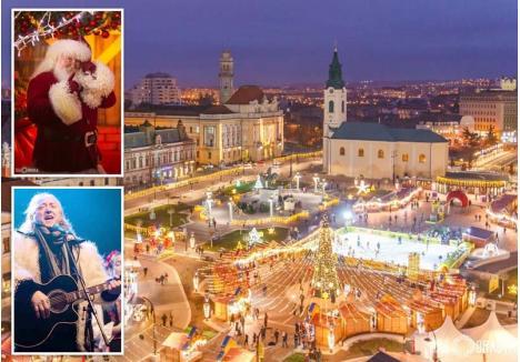 MOŞUL ŞI COLINDĂTORUL. Târgul de Crăciun de anul acesta aduce în Oradea vedetele sezonului de iarnă, mai precis pe Ştefan Hruşcă şi pe însuşi Moş Crăciun (foto: Visit Oradea)