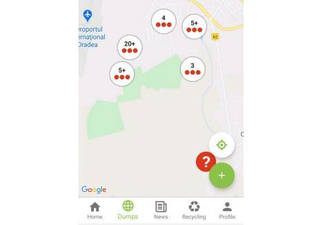 """HARTA GUNOAIELOR. În aplicaţia TrashOut, curioşii pot vedea şi mormanele deja """"înregistrate"""" de alţi voluntari"""