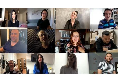 """Artiștii locali care au cântat """"We are the World"""" pentru cei din linia întâi. (Sursa foto: captură video - Facebook Berki Gheorghe)"""