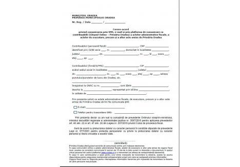 Vezi aici formularul tip prin care contribuabilii pot cere comunicarea online cu Primăria.