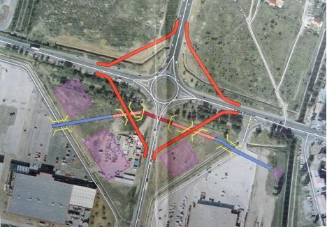 Schiţa care arată pe unde vor fi amenajate drumurile colectoare în jurul sensului giratoriu de la ieşirea spre Arad