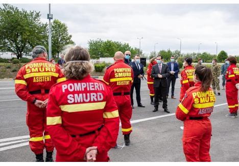 Imagine de la ceremonia de repatriere a detaşamentului de sprijin trimis de România în Republica Moldova (foto: DSU)