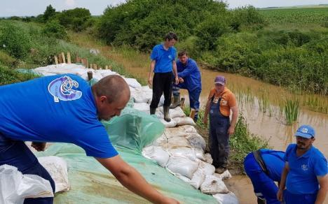 Apărare împotriva viiturilor: ABA Crişuri a făcut supraînălţări cu saci de nisip pe văile care ameninţă bihorenii (FOTO)
