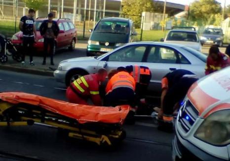 O orădeancă a ajuns de pe trecerea de pietoni în spital: un şofer neatent nu i-a acordat prioritate