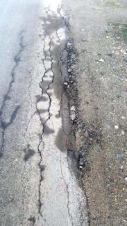Făcut să crape: Covoarele asfaltice pe care a stricat banii CJ Bihor n-au ținut nici măcar o iarnă (FOTO)