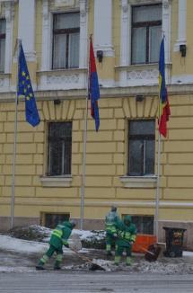 Oradea sub zăpadă: RER acţionează cu 20 de utilaje (FOTO)