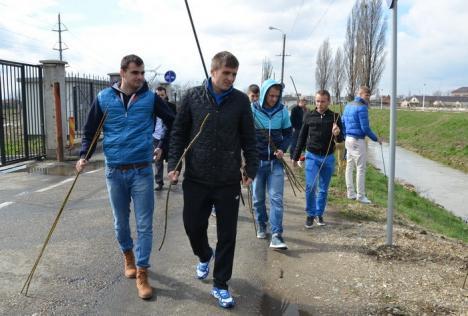 Jucătorii echipei FC Bihor au plantat sălcii pe malul Peţei (FOTO)