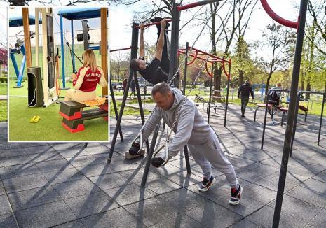 Sala din... parc: Pasionaţii de sport au găsit soluţii pentru continuarea antrenamentelor, şi cu sălile închise(FOTO)