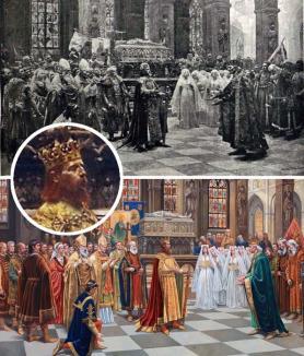 Misterele coroanei: Tabloului împăratului Sigismund expus la Primărie îi lipseşte Sfânta Coroană Ungară