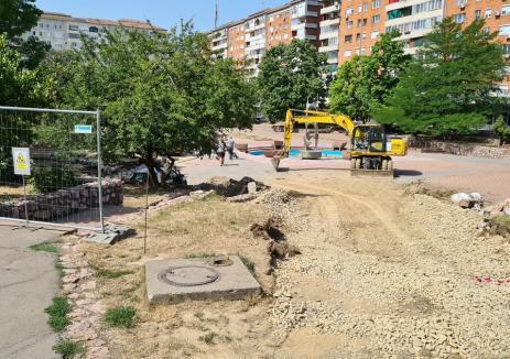 Atenţie, lucrări! Piaţa Magnoliei din Oradea a intrat în reabilitare pentru a deveni centru de cartier (FOTO / VIDEO)