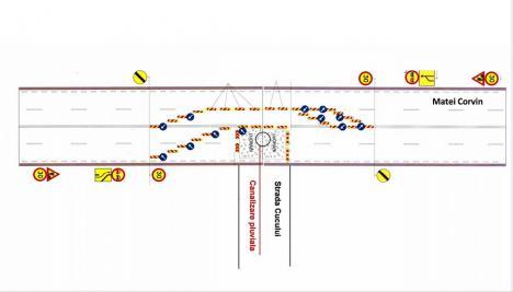 Atenţie, şoferi! Circulaţia pe o parte din strada Matei Corvin a fost restricţionată la o bandă pe sens