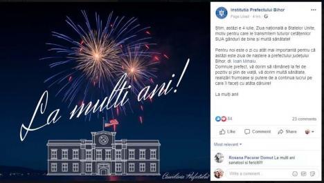 Trăiască şefu'! Prefectul Ioan Mihaiu, sărbătorit de angajați pe Facebook