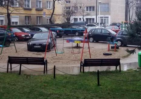 Bizoni de Velenţa: Şi-a parcat Audi-ul taman în parcul de joacă al copiilor!