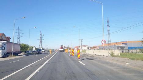Centură cu cârpeală: La nici două săptămâni după asfaltare, pe centura Oradiei au apărut gropile