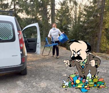 Flagrant în pădure: Cum a fost prinsă patroana unei pensiuni din Vârtop aruncându-şi gunoaiele în natură (FOTO)
