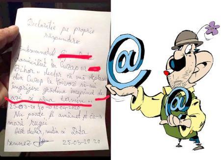 Țăran cu texte: Care este adevărul în ce-l priveşte pe bihoreanul care a scris în declarație că a ieșit din casă pentru 'că-s mari rugii'