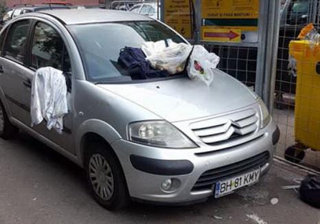 Gunoi între gunoaie: Cum a fost pedepsit un șofer care și-a parcat mașina în ușa unui container