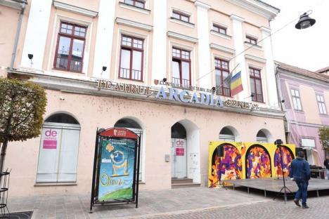 """Toate cârpele sus! Steagul amplasat pe clădirea Teatrului Arcadia s-a """"remarcat"""" de Ziua Oradiei"""