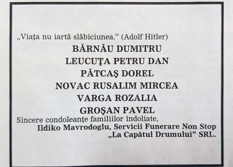 La capătul decenţei: Patroana de la Capătul Drumului publică la rubrica de decese citate din… Adolf Hitler
