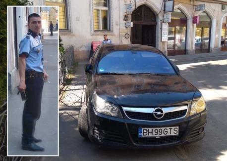 Miliţist cu nervi: Poliţist inflamat după ce a fost prins că a parcat neregulamentar (FOTO / VIDEO)