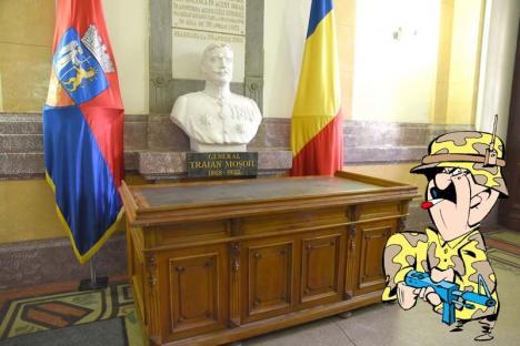 Moşoiu, la treabă! I-au pus generalului din holul Primăriei Oradea un birou, să-i dea de lucru