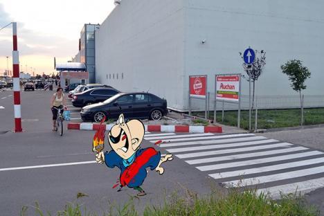 Dorel e cel mai cel! O trecere de pietoni de la Auchan dă în... scuar