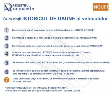 Cetăţenii care își cumpără o maşină şi vor să ştie dacă a avut daune pot obţine informaţia online, de la RAR