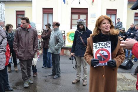 """Protest împotriva exploatării gazelor de şist în Bihor: """"Nu decideţi pentru noi!"""" (FOTO / VIDEO)"""