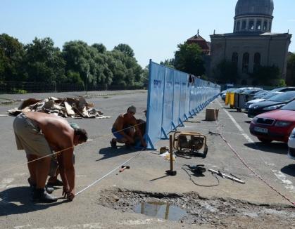 Repcon începe lucrările pe malul Crişului, lângă viitoarea parcare subterană